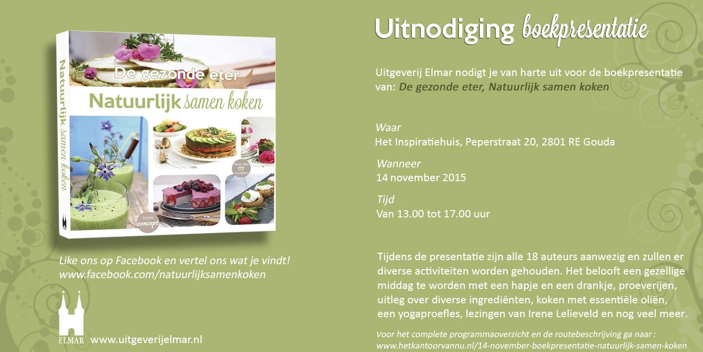Uitnodiging boeklancering Natuurlijk Samen Koken