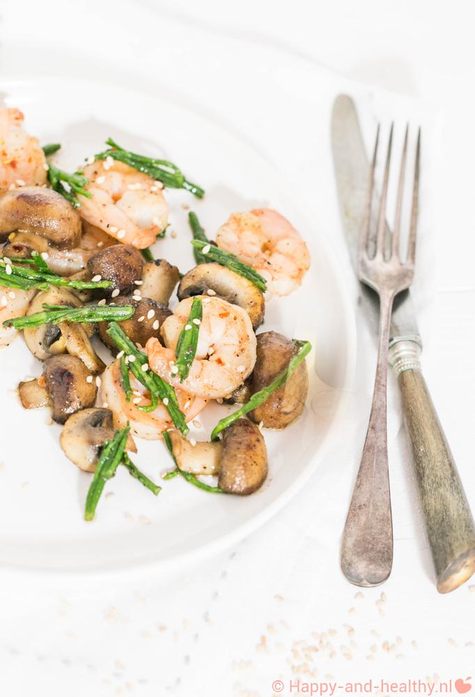 Garnalen met zeekraal en kastanje champignons hmmm